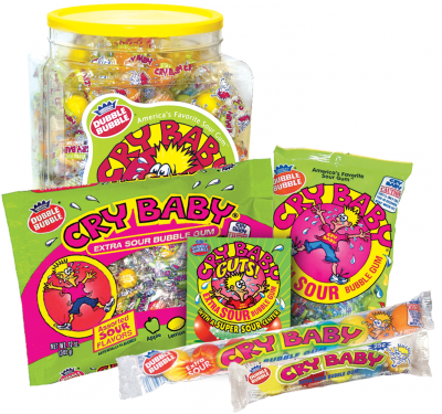 Group of Cry Baby Extra Sour Gum; Tootsie Roll products